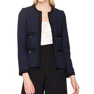 LK BENNETT Navy Blue Tweed Halyna Jacket